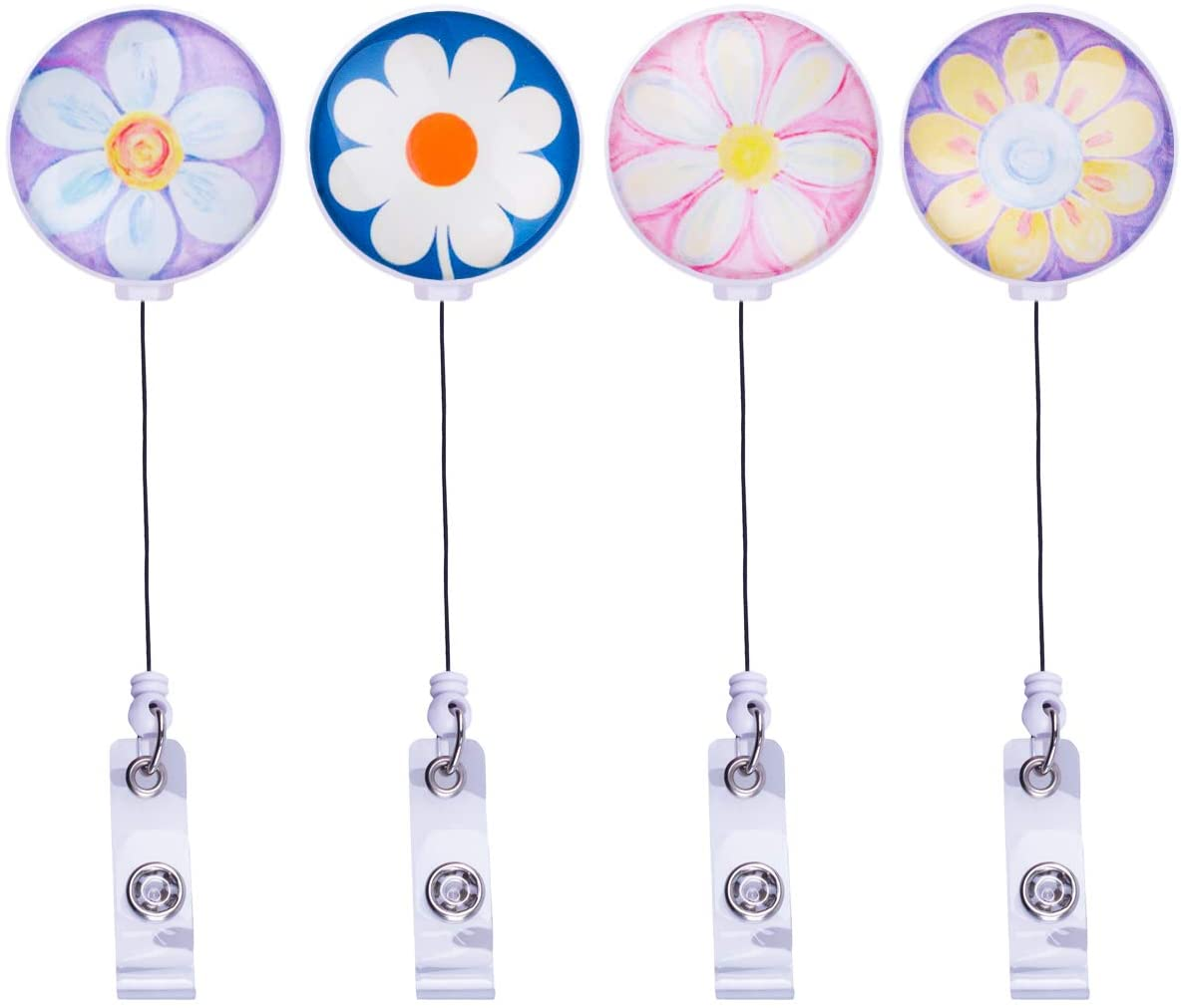 WOWCASE 4 Pack HD Crystal Glass Retractable Badge Holder, ID Card Badge Reel with Print Pattern 360°Alligator Swivel Badge Clip (Lucky Flower)