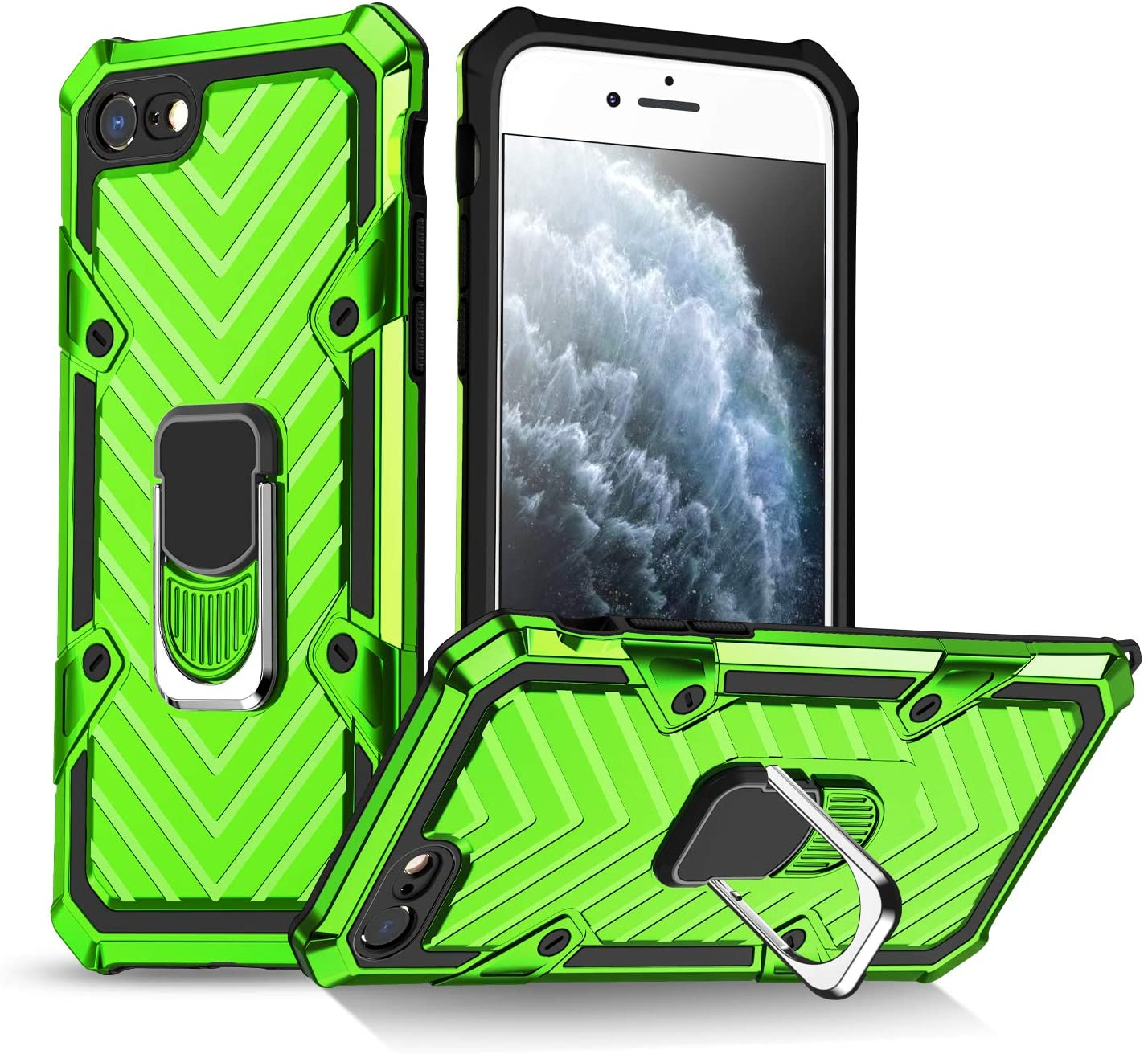 iPhone SE 2020 Case, iPhone 7/8 Case | Kickstand | [ Military Grade ] 15ft. SGS Drop Tested Protective Case | Compatible for Apple iPhone SE 2020 Cases, iPhone 7/8 Cases-Green (iphone 7/8/SE 2020)