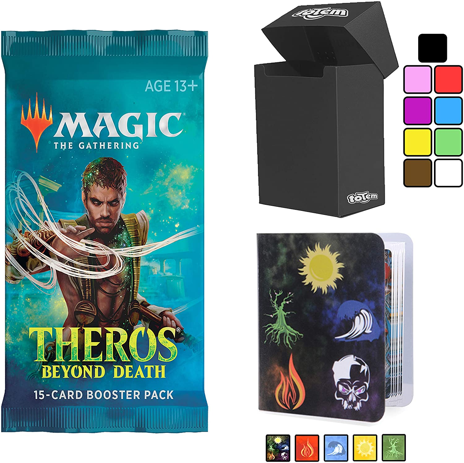 Totem World Theros Beyond Death Booster Pack with a Totem Inspired Mini Binder Collectors Album and Deck Box