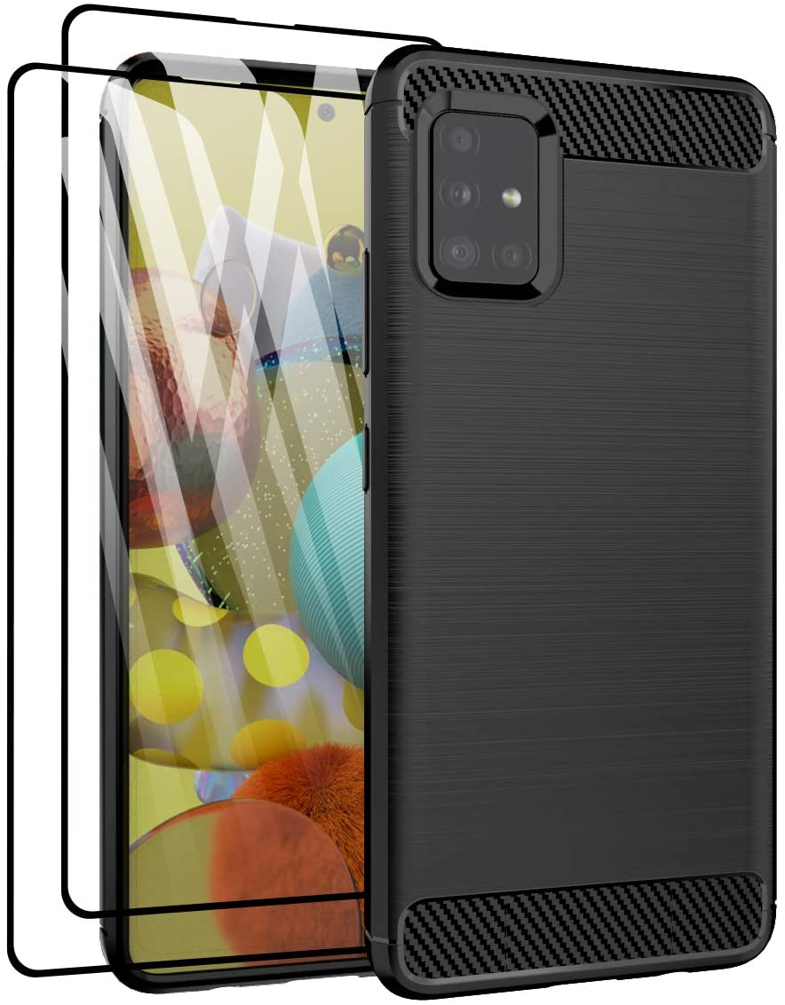 Vecomelo for Galaxy A51 5G Case, Slim-Fit TPU Shock Absorption Lightweight Soft Flexible Skin Bumper Cover Case for Samsung A51 5G, Black