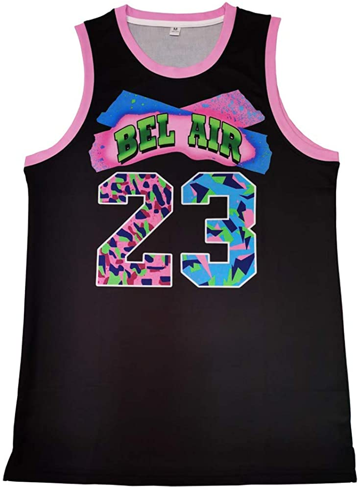 MOLPE Bel-Air 23 Printed Basketball Jerey, 90S Hip-Hop Clothing for Party