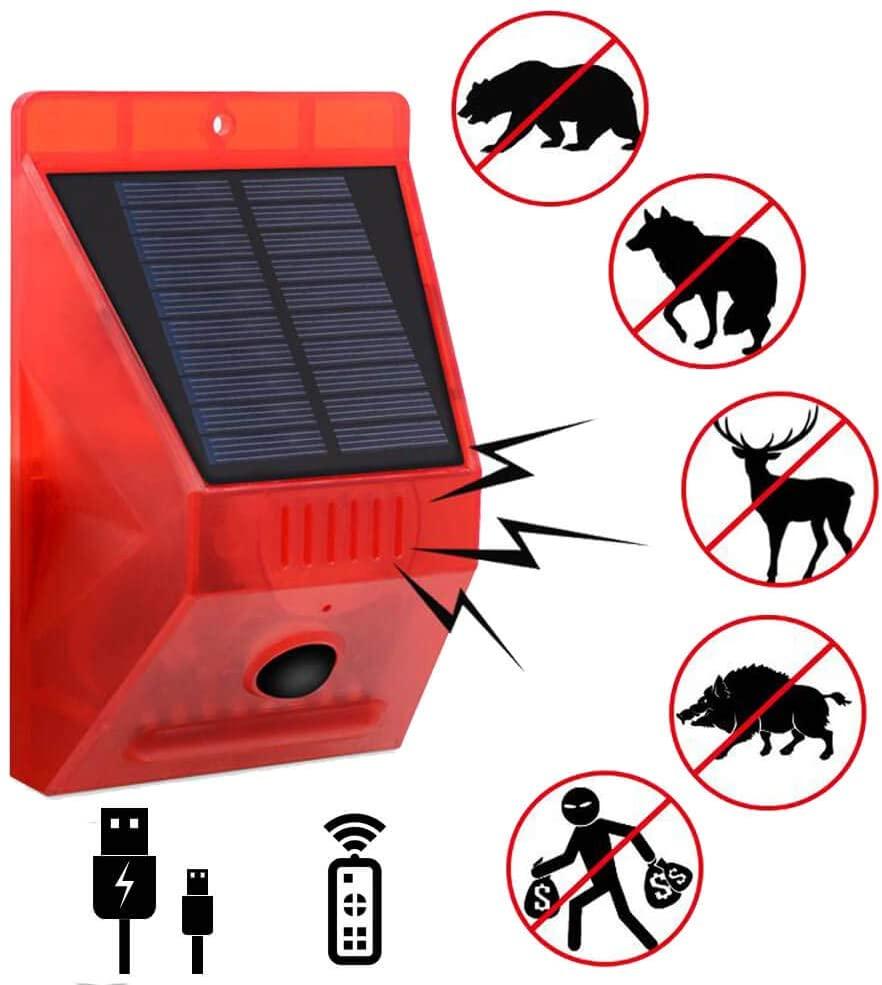 Outdoor Solar Strobe Lights Sound Alarm Remote Control Home Security Lamp Motion Sensor Nights Lights for Farm Yard