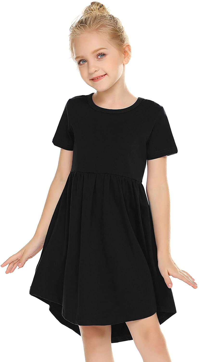 Arshiner Girl Cotton Short Sleeve A Line Skater Casual Twirly Casual Dress