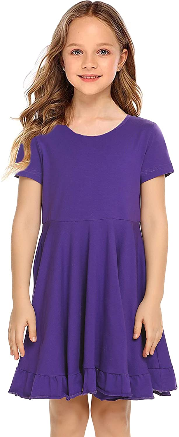 Arshiner Girls Short Sleeve Casual Dress Cotton Loose Solid Pocket T-Shirt Skirt