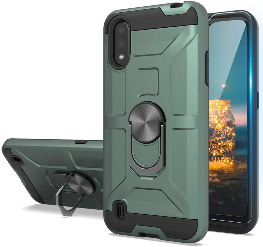 TJS Phone Case Compatible for Samsung Galaxy A01, with [Tempered Glass Screen Protector] Impact Resistant Defender Metal Ring Magnetic Support Heavy Duty Armor Drop Protector Cover (Green)