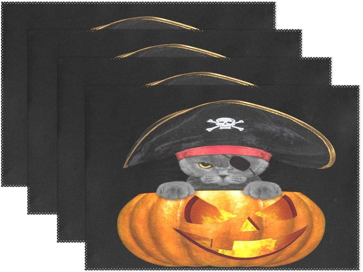 alaza Halloween Placemats Set of 4, Halloween Pirate Cat Washable Table Place Mats for Kitchen Dining Table Home Decoration, 12 x 18 Inches