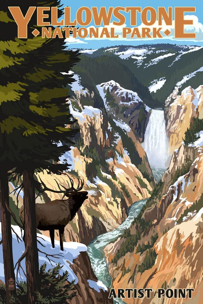 Yellowstone National Park, Wyoming - Artist Point and Elk (9x12 Art Print, Wall Decor Travel Poster)