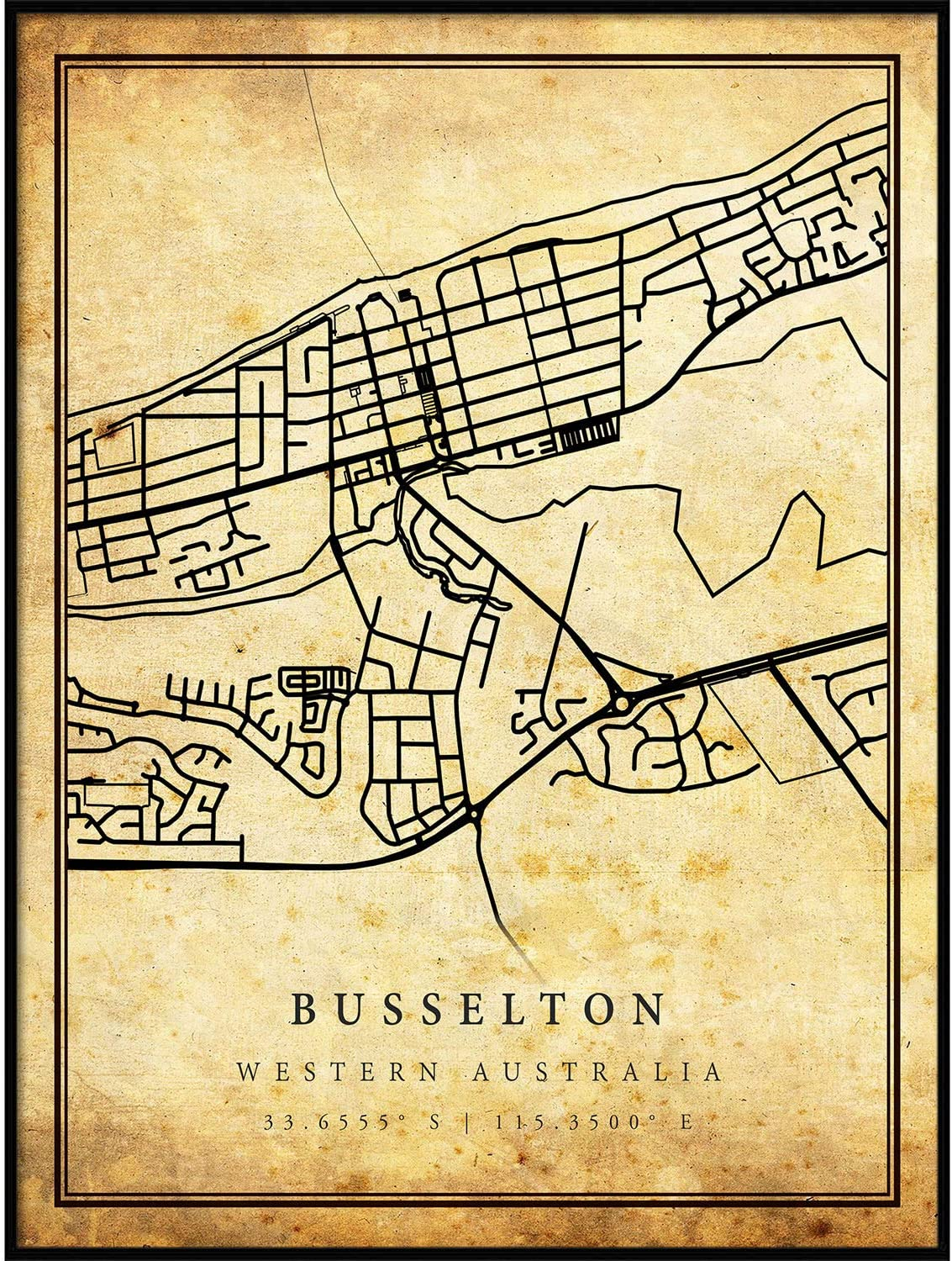 Busselton map Vintage Style Poster Print   Old City Artwork Prints   Antique Style Home Decor   Western Australia Wall Art Gift   Historical map 8.5x11