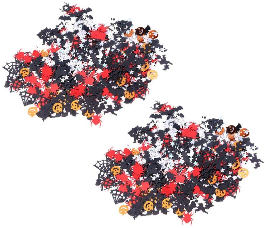 Toyvian 2 Packs Halloween Confetti Table Scatter Pumpkins Spider Decorative Throwing Confetti Halloween Birthday Party Favors (Mixed Pattern)
