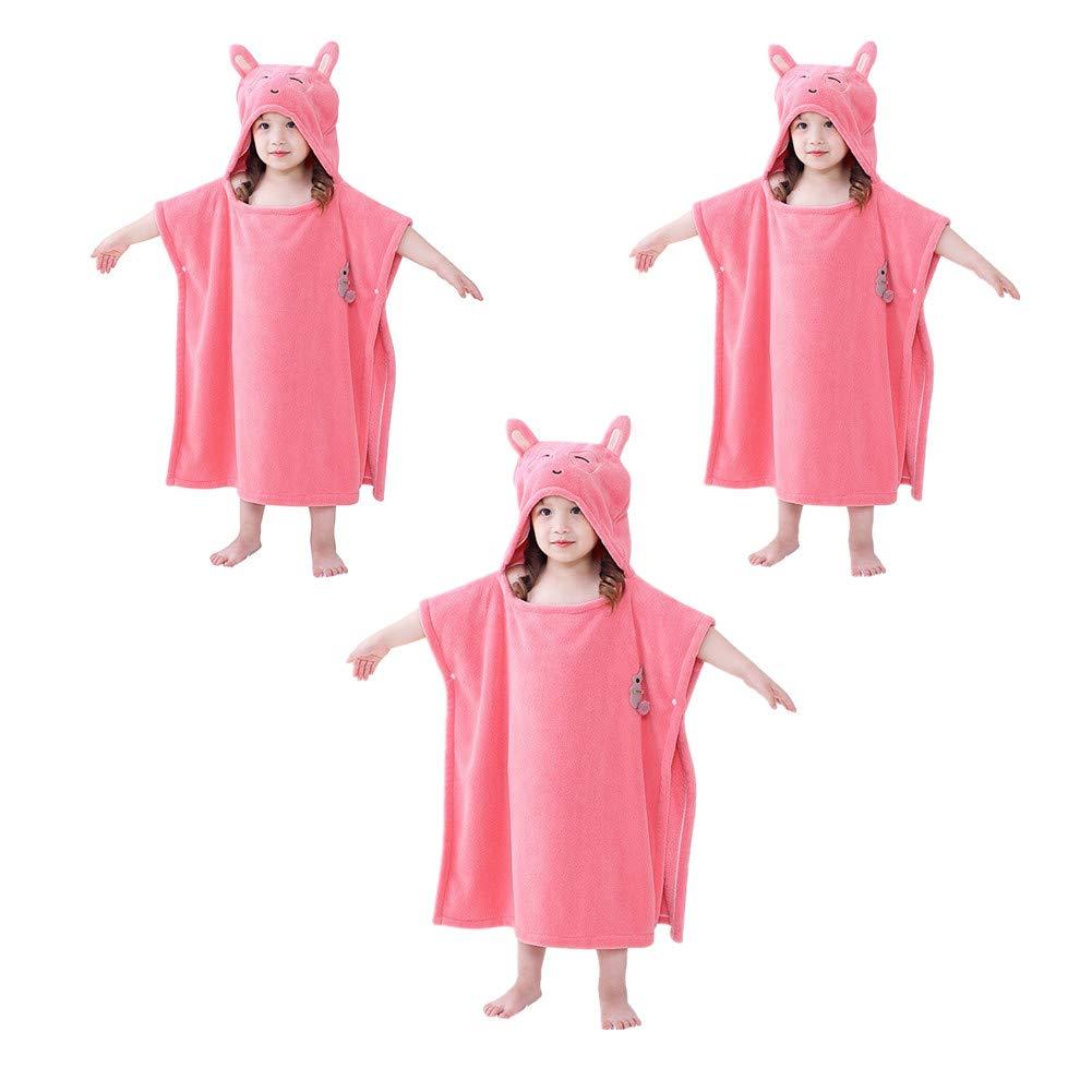 3 Pack 3-12 Year Old Children Cartoon Hooded Coral Fleece Bath Towel