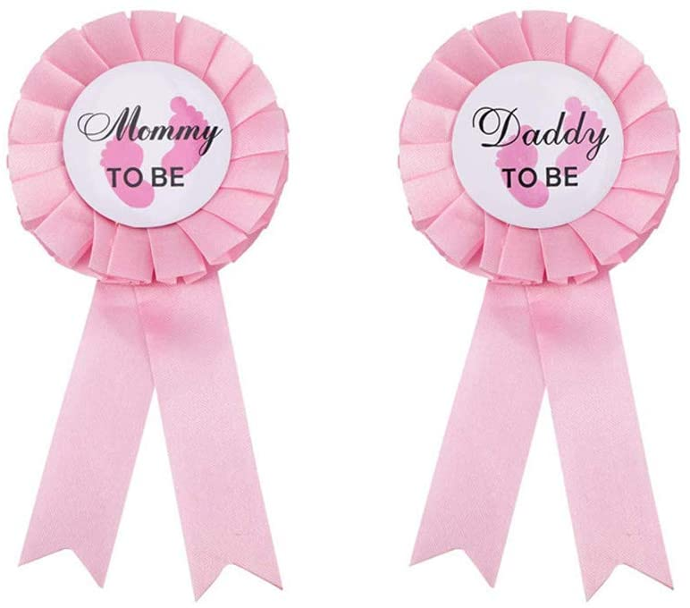 JKJF Daddy to be and Mom to be Tinplate Badge Pin, Baby Shower Button Gender Reveals Party Gifts Baby Girl Pink Rosette Button for Baby Celebration - Light Pink
