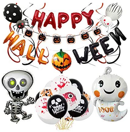 Onebook Halloween Balloon Kit, Halloween Decorations Set,Large Halloween Letter Balloons Pumpkin Balloon Skull Spider Foil Balloons for Halloween Scene Party Decorations Supplies
