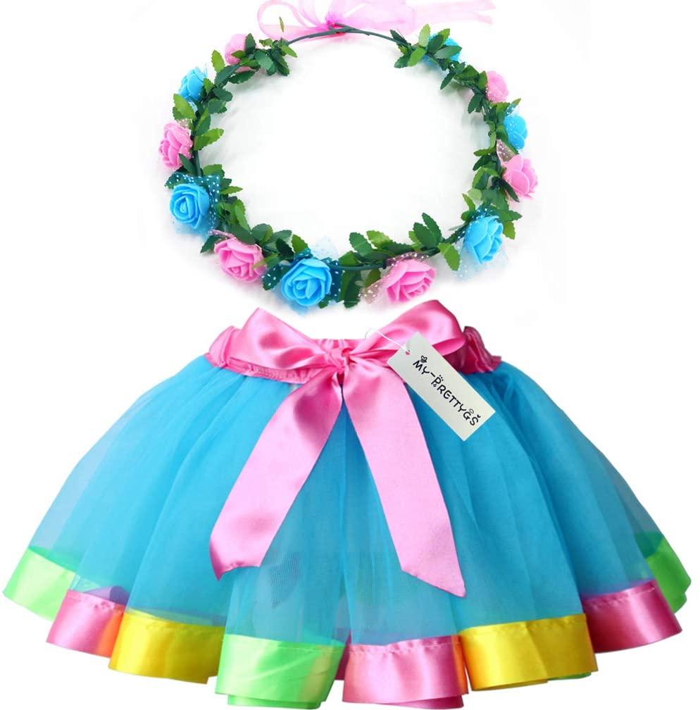 MY-PRETTYGS Layered Tulle Ballet Rainbow Tutu Skirt with Flower Crown Wreath Headband (Blue, M,2-4 T)