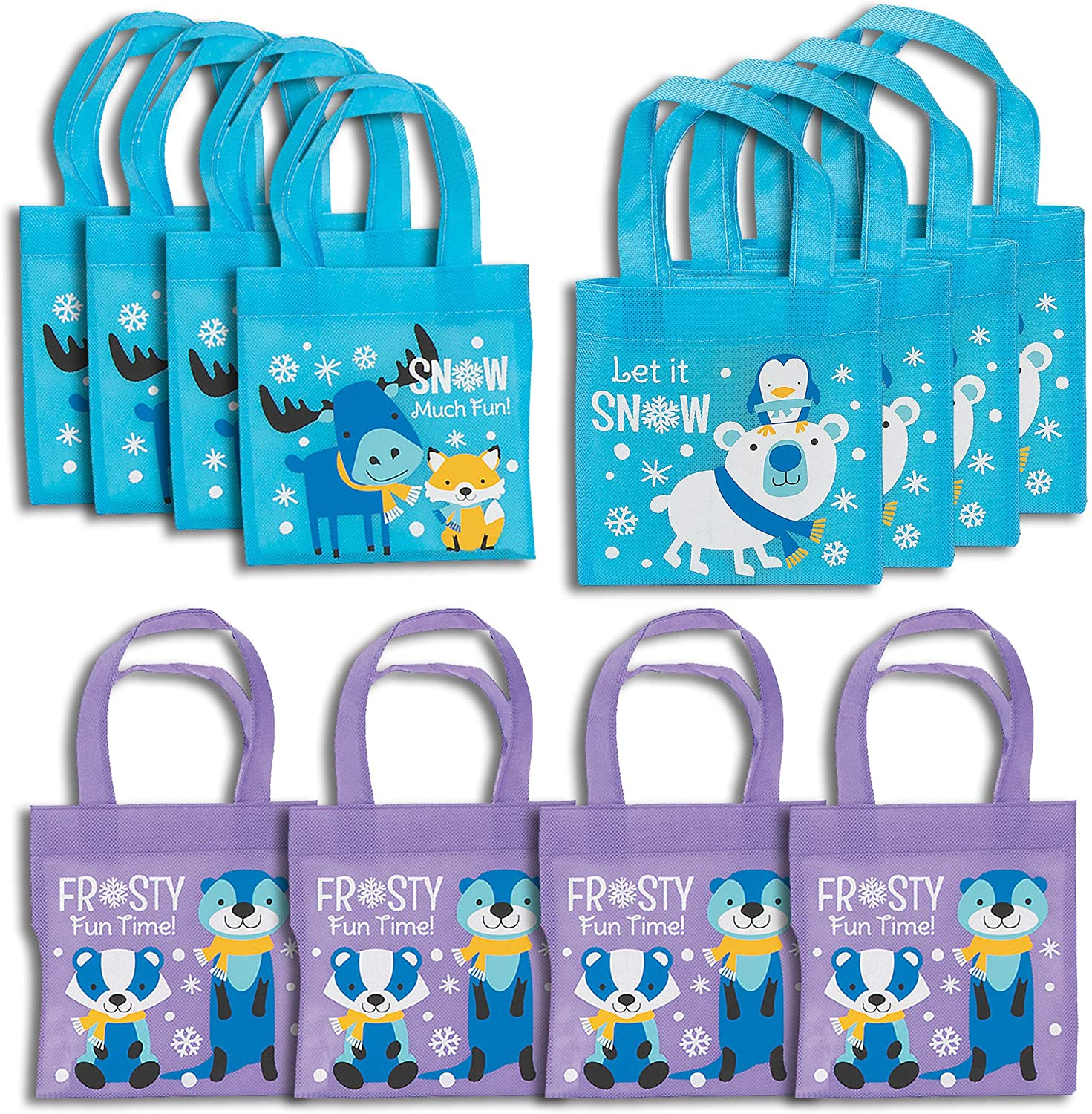 Fun Express Mini Winter Critter Tote Bags | 12 Count | Great for Birthday Party, Christmas, Holy Week, Halloween, Winter-Themed Events, Baby Showers, Favors, Giveaways, Rewards, Gifts