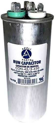 Appli Parts Dual Run Capacitor 45 + 5 Mfd uF (microfarads) 370 VAC or 450 VAC Round CON-45/5-450 Replaces CAP-45/5-450