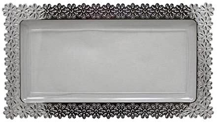 Exquisite Plastic Clear Plate With Silver Edged Flower Plastic Serving Tray (2, Small - 6.5 inch. x 14 inch.)