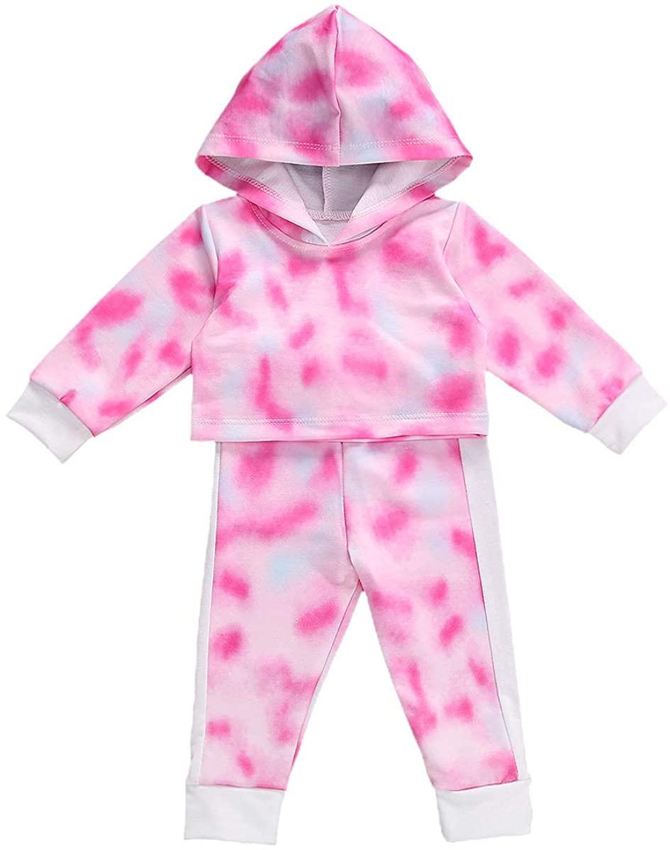 Toddler Kids Baby Girl Boy Clothes Tie Dye Long Sleeve Hoodie Sweatshirt Top Pants Outfits Tracksuit Set Sportwear