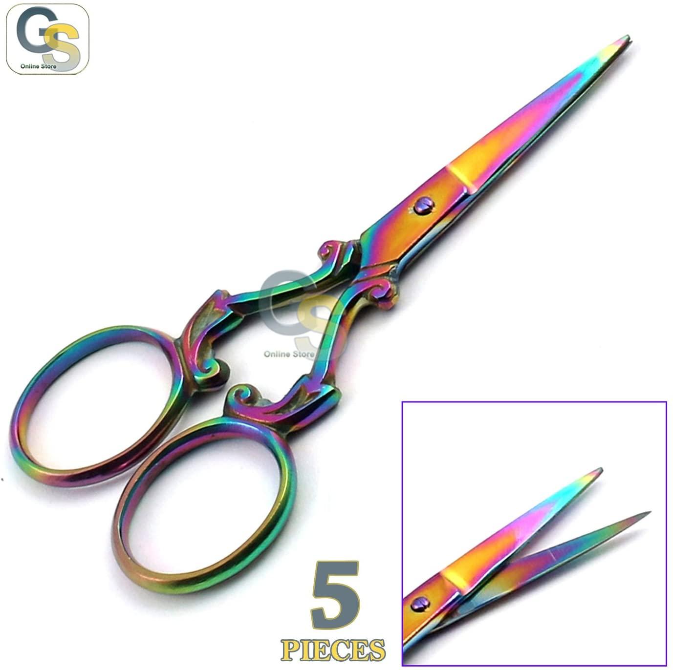 G.S Set of 5 Multi Titanium Color Rainbow Sewing Embroidery Scissors 3.5