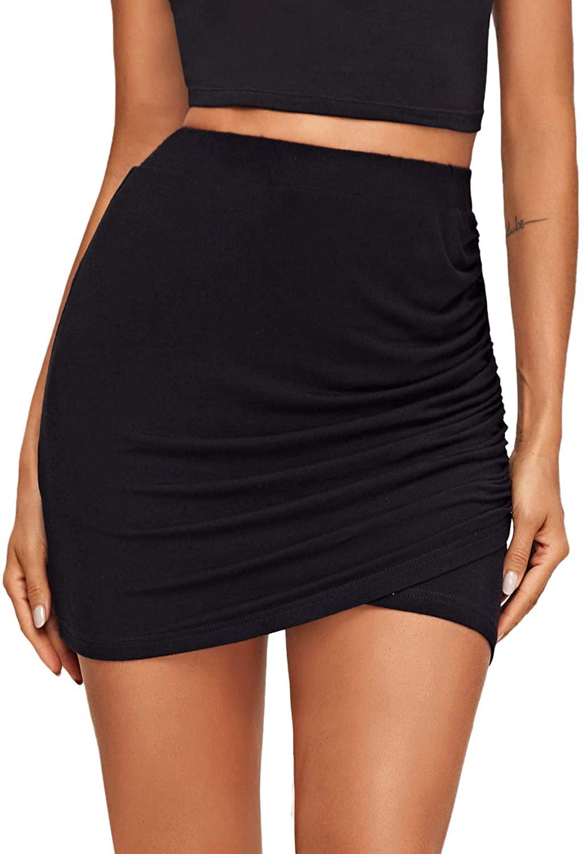 SOLY HUX Women's Elastic High Waist Ruched Summer Bodycon Mini Skirt