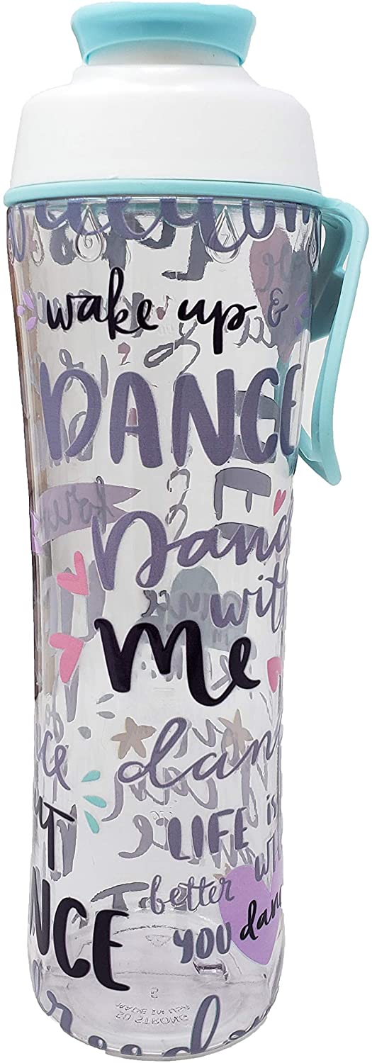 BPA Free Reusable Cheer Dance Ballet Gymnast Water Bottle for Girls - 24 30 oz. Clear with Cheerleading Dancer Gymnastics Print - Gift for Cheerleaders, Dancers & Gymnasts (Live to Dance, 24 oz.)