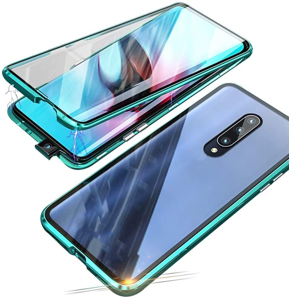 Compatible with Xiaomi Mi 9T / 9T Pro (6.39 inch) Case, Jonwelsy 360 Degree Front and Back Transparent Tempered Glass Cover, Strong Magnetic Adsorption Technology Metal Bumper (Green)
