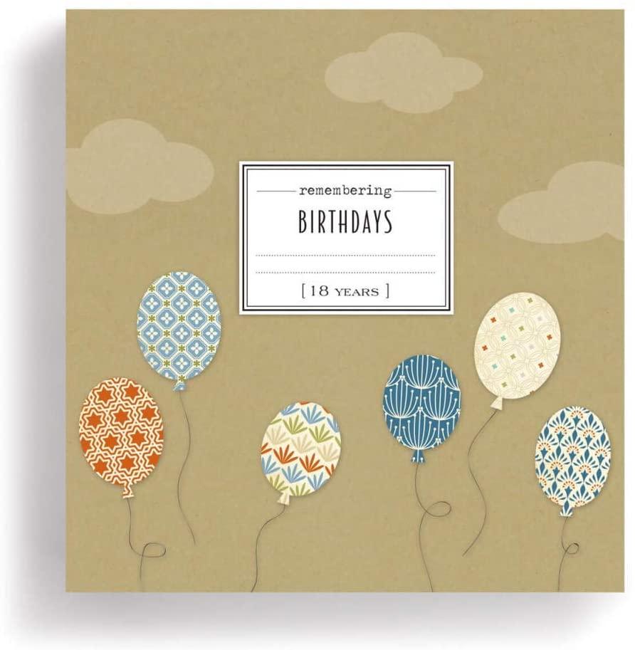 18 Years of Remebering Birthdays 9.5 x 9.5 Spiral Bound Paper Notecard Journal