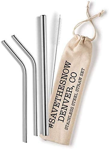 Shell Creek Sellers Reusable Straws' Set - Includes 2 8.5'' Bent Metal Straws, 1 Wide Smoothie Straw, Straw Cleaner Brush and Eco Bag - #SaveTheSnow, Denver Co