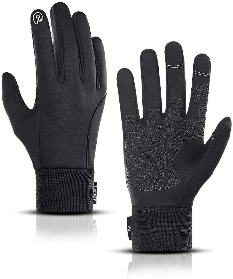 LERWAY Winter Warm Gloves, Waterproof Touch Screen Non-slip MTB Gloves Thermal Gloves Black for Running, Driving, Cycling