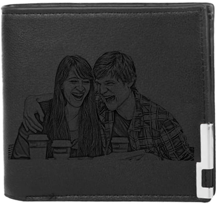 Custom Engraved Wallets Personalized Photo Leather Wallet Men,Husband,Dad,Son,Personalized Gifts