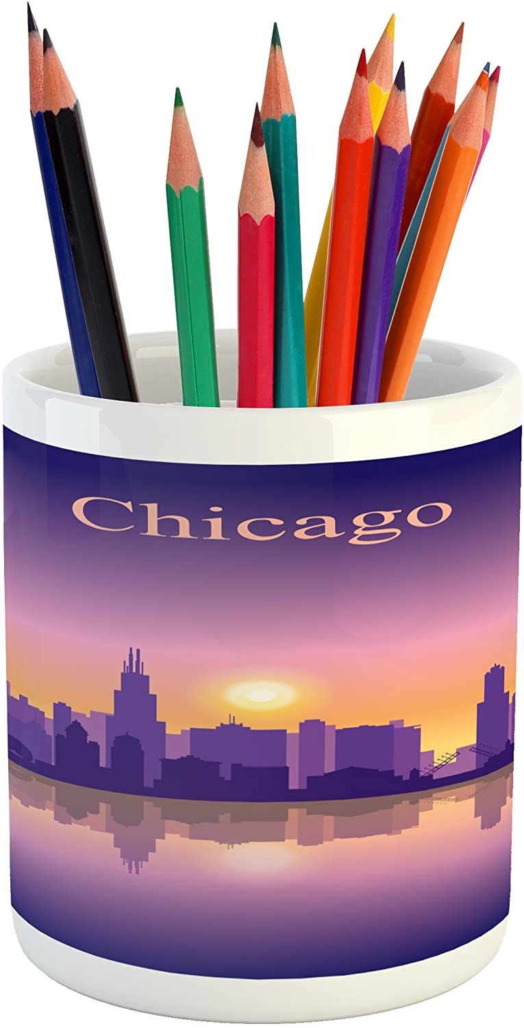 Ambesonne Chicago Skyline Pencil Pen Holder, Sunset in Illinois American Horizon Behind High City Silhouettes, Printed Ceramic Pencil Pen Holder for Desk Office Accessory, Purple Apricot Pink
