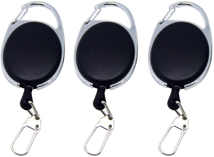 LIOOBO 6pcs Retractable Keychain Badge Reel with Carabiner Belt Clip Steel Cable Key Ring (Black)