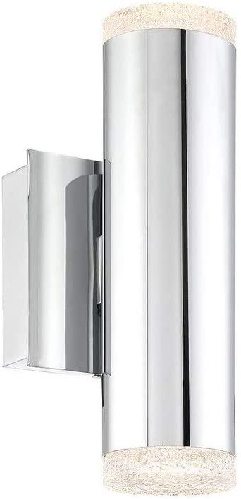 Eurofase 35688-013 Seaton Crystal-Like Glass & Metal Tube LED Wall Sconce Wall Mount Lighting, Damp Rated, 4-Light 9 Total Watts, 10