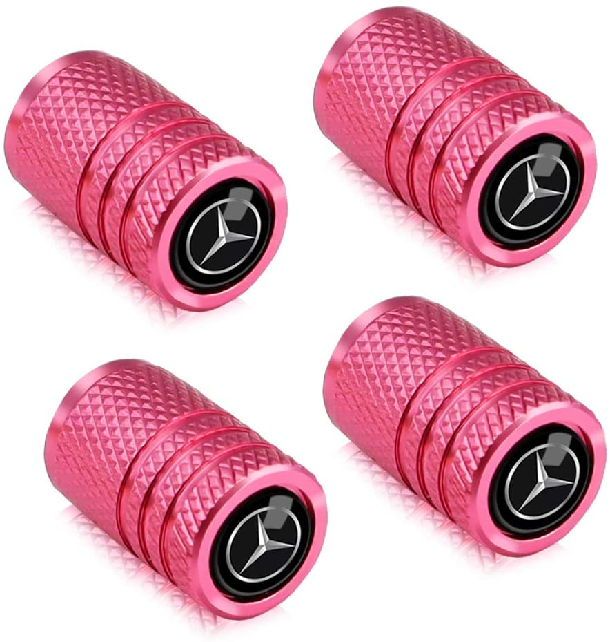 Baoxijie 4Pcs Metal Car Wheel Tire Valve Stem Caps for Mercedes Benz C E S M CLS CLK GLK GL A B AMG GLS GLE Logo Styling Decoration Accessories Pink