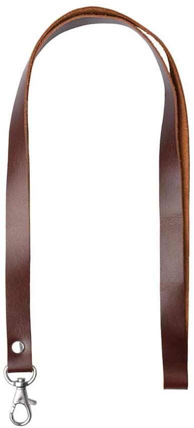 Genuine Leather Neck Lanyard, RetroLeo Leather Key Chain Holder, ID Badge Holder (LL001-Brown)