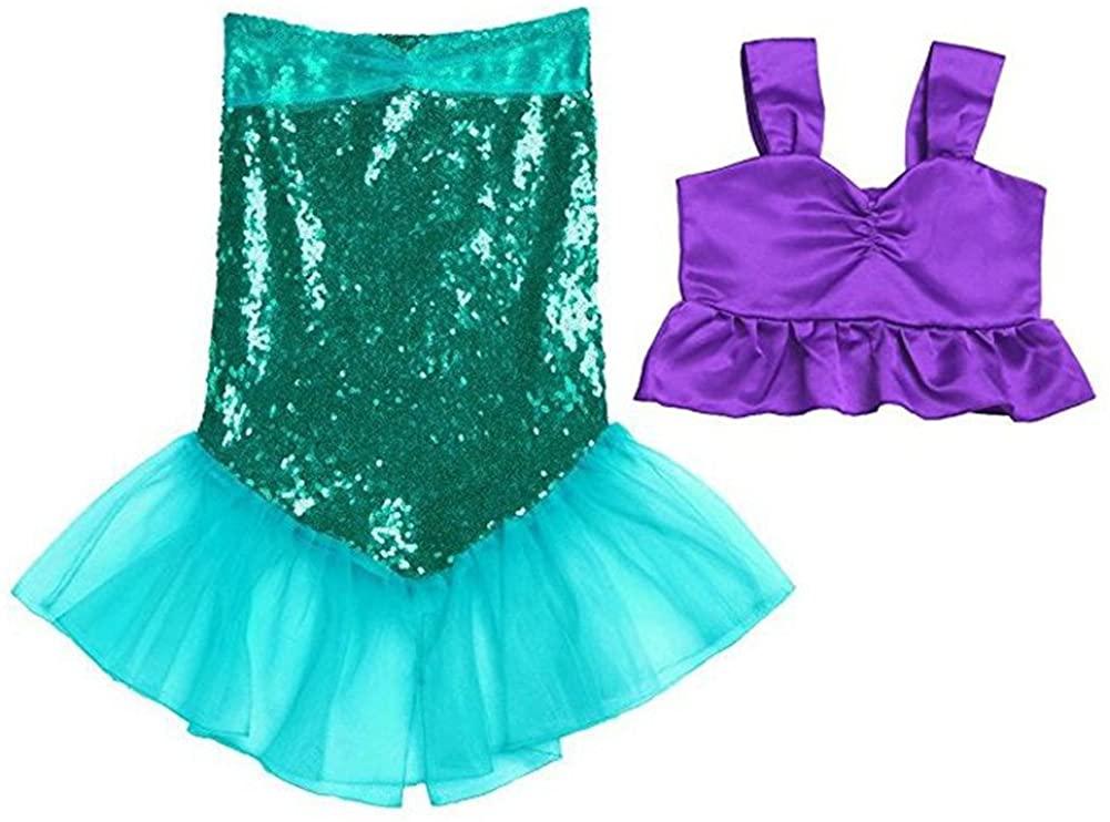 Freebily 2pcs Little Girls Shiny Mermaid Dress Swimwear Sleeveless Tank Top with Long Tail Skrits Swimsuit Bathing Suit
