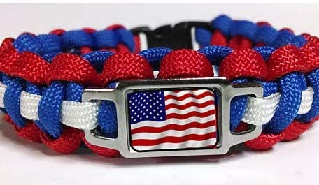 Greensea Patriotic American Flag Red White and Blue Paracord Survival Bracelet 9'