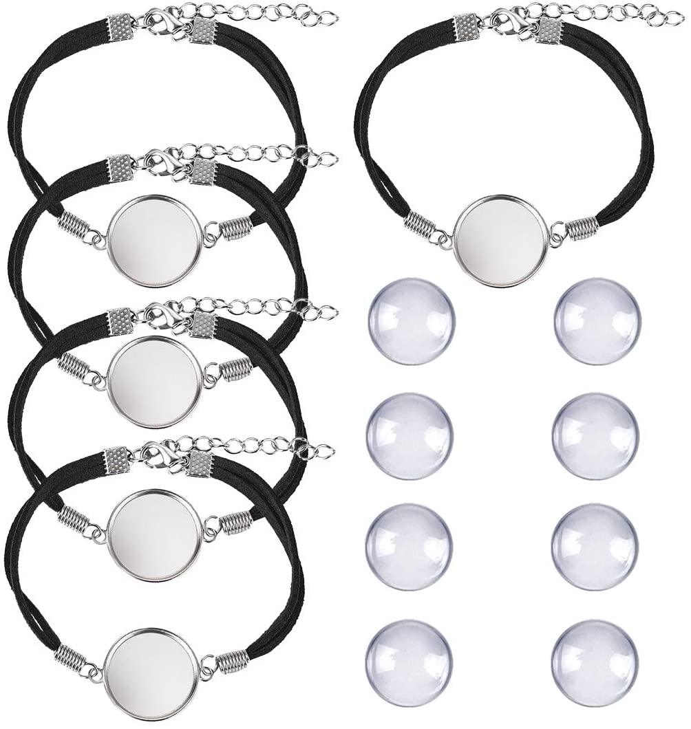 DROLE 40Pcs Black Leather Cabochon Bracelet Blanks-20Pcs 20mm Cabochon Bezel Tray Blank Bracelets with 20mm Cabochon Black Bracelet Chain for Jewelry Making Silver Base