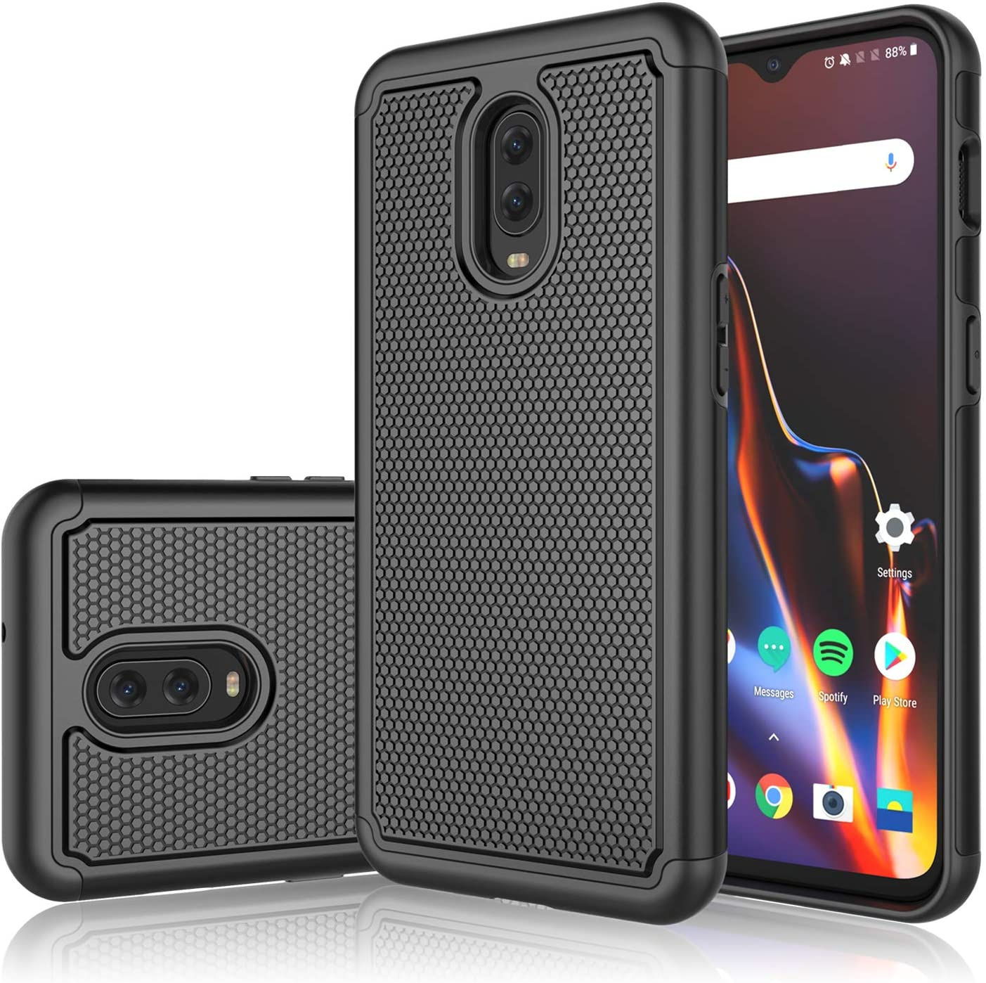 Tinysaturn OnePlus 6T Case, for OnePlus 6T Case, [Ysaturn] Durable Hybrid Impact Armor Dual Anti-Slip Shockproof Against Scratches Hard Shell Rubber Cover - Black