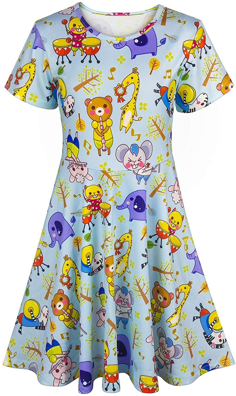 Asylvain Toddler Girls Summer Dress Short Sleeve Print Design Casual & Party Dress for 2-9 Years