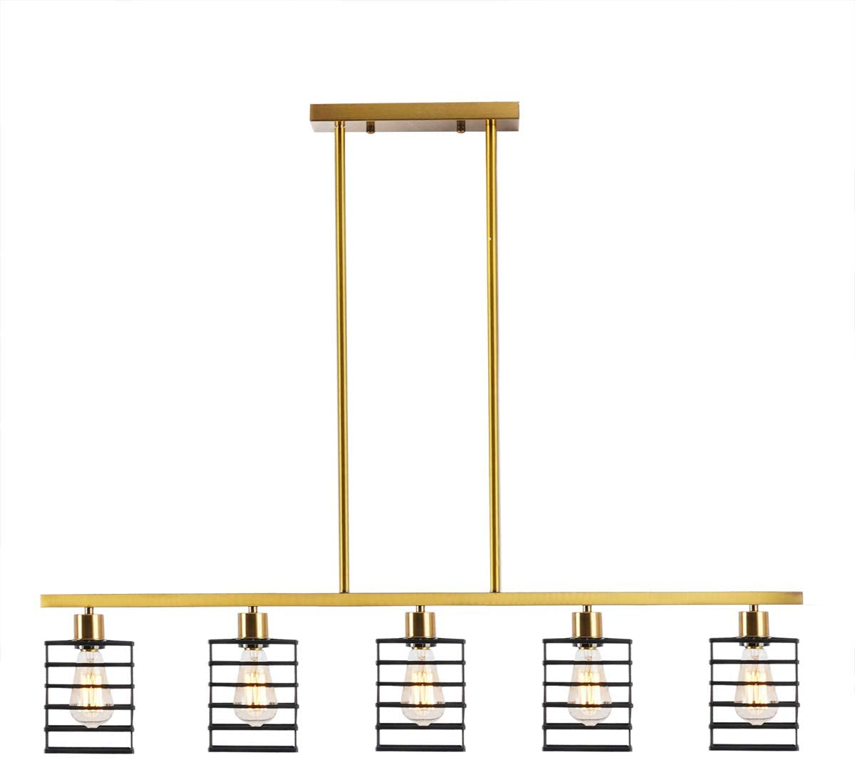 BAODEN 5-Light Industrial Kitchen Island Pendant Lighting Brushed Brass Modern Linear Ceiling Light Fixtures with Matte Black Metal Cage Shades Semi Flush Mount Farmhouse Chandelier for Dining Room