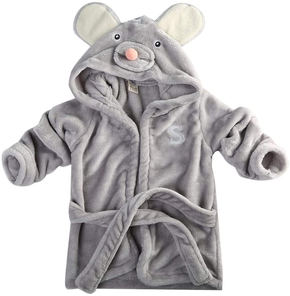 Infant Baby Boys Girls Cartoon Animal Bathrobe Coral Velvet Hooded Towel Bath Robe Long Sleeve Pajamas Clothes (Gray Mouse, 1-2Y)