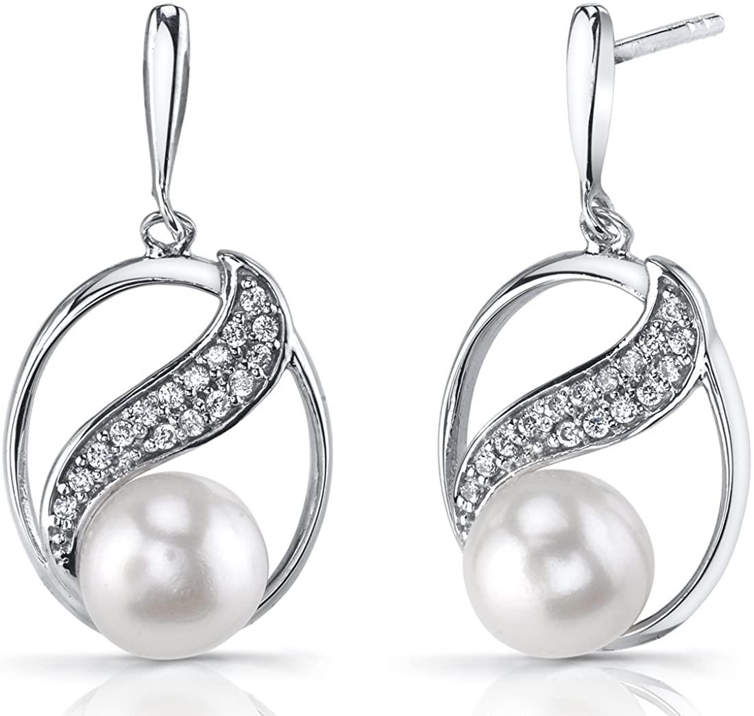 7.0mm Freshwater Cultured White Pearl Artemis Sterling Silver Earrings