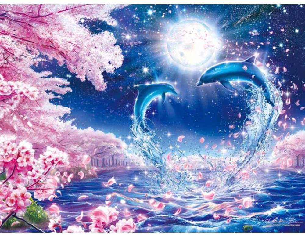 Yeefant Love Heart Shape Dolphin Embroidery Paintings No Fading 5D Canvas Rhinestone Pasted Pasted DIY Diamond Cross Stitch Home Wall Decor for Bedroom Living Room,12x16 Inch