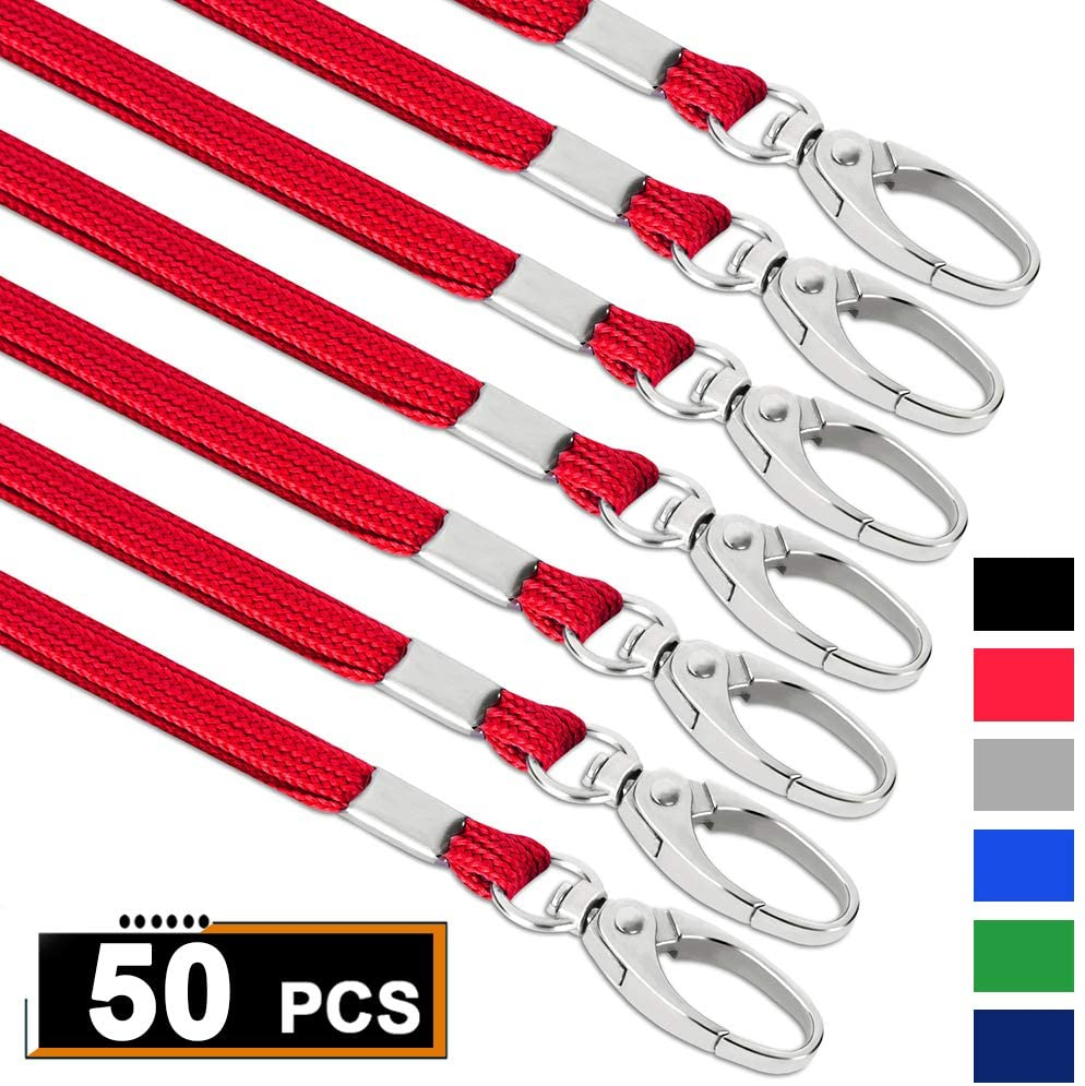 Red Lanyards Bulk Lanyards for Id Badges Flat Lanyard with Badge Clip Swivel Hook (Pack of 50)