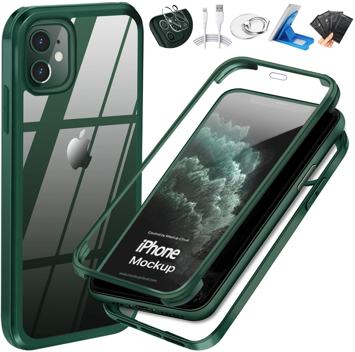 UBUNU iPhone 11 Case with Built-in Tempered Glass Screen Protector, 360 Full Body Heavy Duty Shockproof Dual Layer Rugged Silicone Rubber Bumper Protective Clear iPhone 11 Cases 6.1 inch - Green