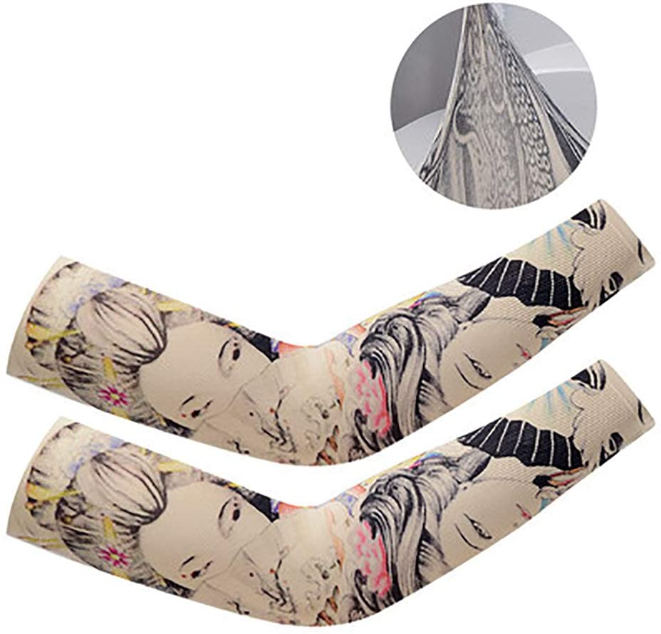 LIUHUA Arts Fake Temporary Tattoo Arm Sleeves Sunscreen Stockings Slip Sleeves Soft for Men Women-D