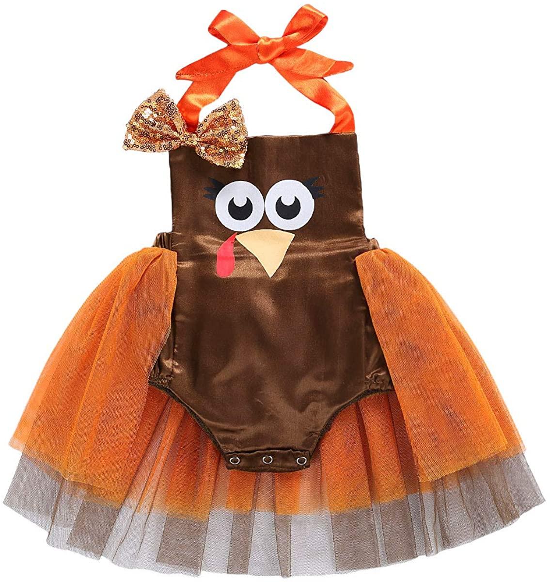 Newborn Baby Girl Thanksgiving Romper Turkey Sleeveless Halter Onesies Tutu Dress Jumpsuit Clothes