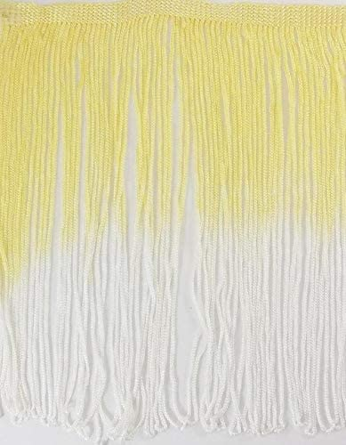 Ombre Tie-Dye Multicolor Chainette Thread Yarn Tonal Loop Fringe- Sewing Quilting Renaissance Dance Hawaiian Costumes Outfit Drapery- 12 Long- Yellow & White Shades Combinations- 1 Yard
