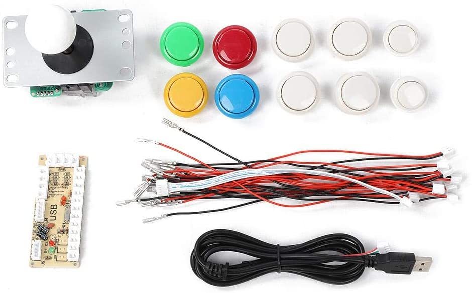 Dpofirs Arcade Game Button and Joystick Controller Kit, DIY Arcade Game Buttons Combat Joystick Rocker Kit for Raspberry Pi and PC Games