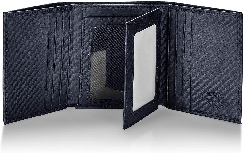 Stealth Mode Carbon Fiber Trifold RFID Wallet For Men With Flip Out ID Holder (Carbon Fiber)
